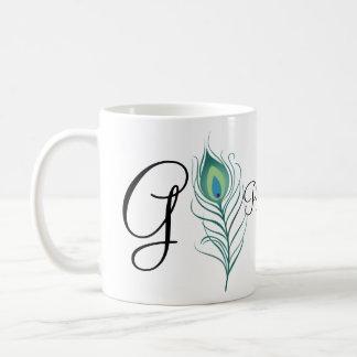 DIY Elegant Peacock Feather Coffee Mug