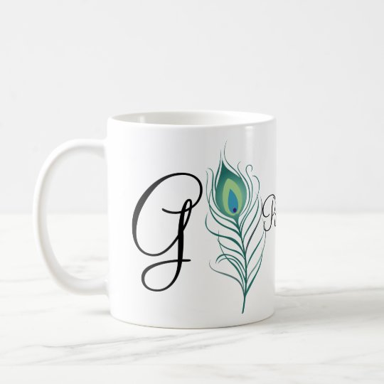 DIY Elegant Peacock Feather Coffee Mug