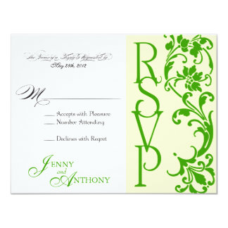 DIY Elegant Simple RSVP in Cream and Emerald Card