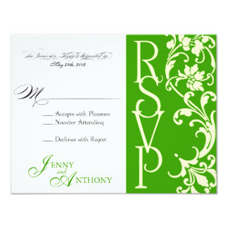 DIY Elegant Simple RSVP in Emerald and Cream Card