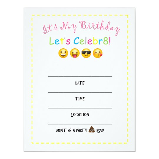 DIY Emoji Birthday Invitation