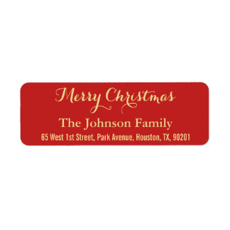 DIY Faux Gold Red Merry Christmas Return Address Label