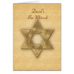 DIY Gold Star of David / Bar Mitzvah template Greeting Card