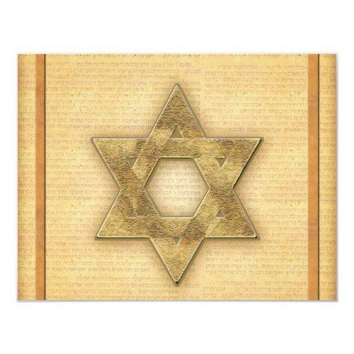 DIY Gold Star of David / Bar Mitzvah template Card
