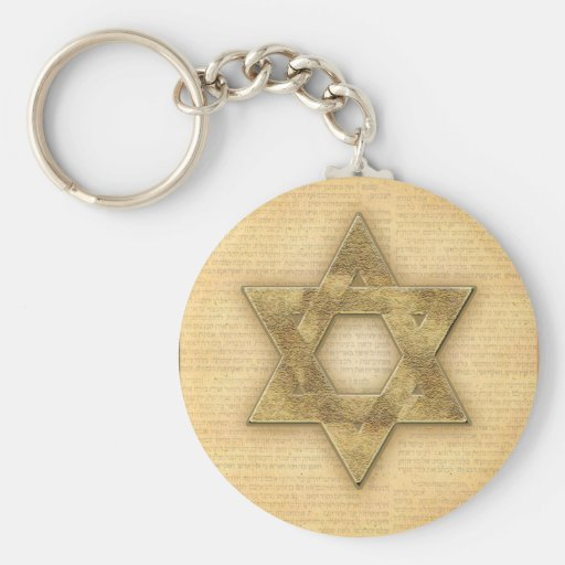 DIY Gold Star of David / Bar Mitzvah template Key Chains