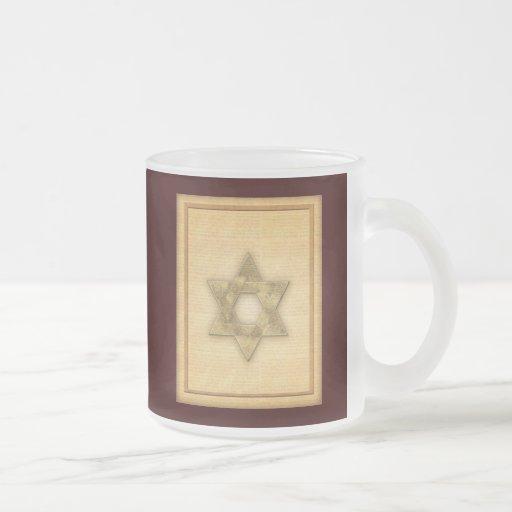 DIY Gold Star of David / Bar Mitzvah template 10 Oz Frosted Glass Coffee Mug