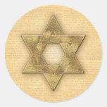 DIY Gold Star of David / Bar Mitzvah template Classic Round Sticker