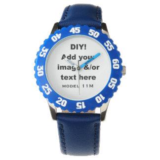 DIY hacen sus propios niños de encargo el azul Reloj De Mano