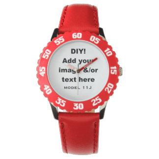 DIY hacen sus propios niños de encargo el rojo Relojes De Mano
