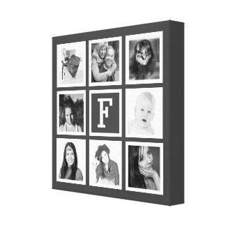 DIY Instagram Photo Collage with Monogram Stretched Canvas Print