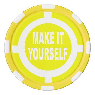 DIY le hacen usted mismo amarillo y blanco Juego De Fichas De Póquer