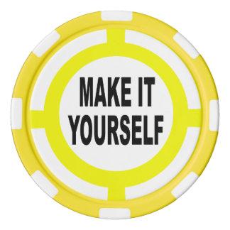 DIY lo hacen usted mismo blanco y amarillo Juego De Fichas De Póquer