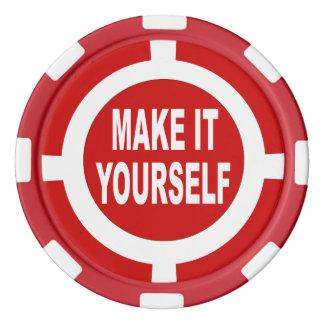 DIY lo hacen usted mismo rojo y blanco Juego De Fichas De Póquer