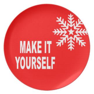 DIY Make It Yourself Christmas Snowflake Party Plate