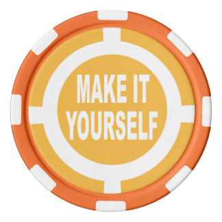 DIY Make It Yourself orange and white Poker Chips