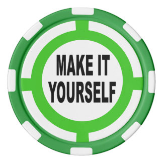 DIY Make It Yourself white and green Poker Chips Set