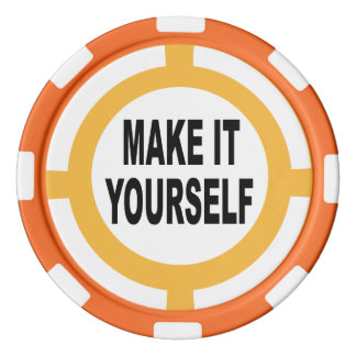 DIY Make It Yourself white and orange Set Of Poker Chips