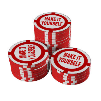 DIY Make It Yourself white and red Poker Chips Set