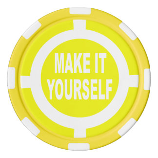 DIY Make It Yourself yellow and white Set Of Poker Chips