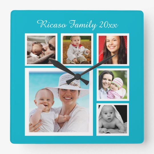 DIY Make Your Own Photo Collage Template Square Wall Clock | Zazzle.com