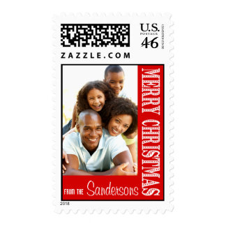 DIY Merry Christmas Photo Postage red