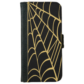 DIY Misted Yellow Spider Web on Any Color Wallet Phone Case For iPhone 6/6s