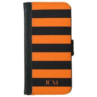DIY Monogram Any Color/Orange Horizontal Stripe Wallet Phone Case For iPhone 6/6s