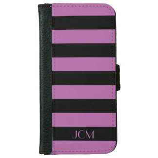 DIY Monogram Any Color/Radiant Orchid Stripe iPhone 6/6s Wallet Case
