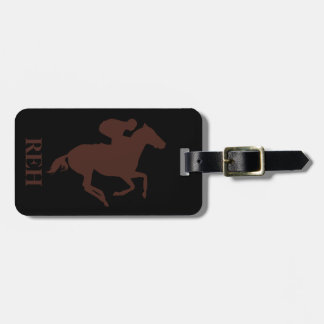 DIY Monogram Brown Race Horse on Any Color Bag Tag