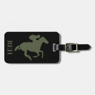 DIY Monogram Cypress Green Race Horse on Any Color Bag Tag
