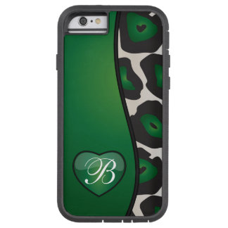 DIY Monogram Dark Green Jaguar with Shiny Heart Tough Xtreme iPhone 6 Case