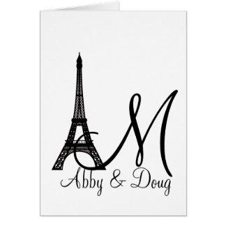 DIY Monogram Eiffel tower design Greeting Cards