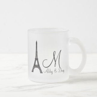 DIY Monogram Eiffel tower design Frosted Glass Coffee Mug