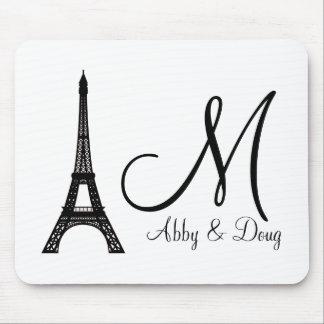 DIY Monogram Eiffel tower design Mouse Pad