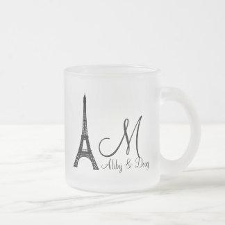 DIY Monogram Eiffel tower design Mugs