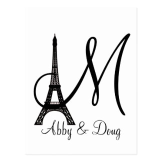 DIY Monogram Eiffel tower design Postcards
