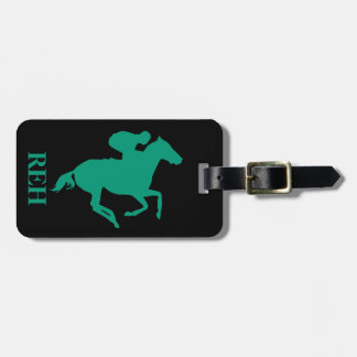 DIY Monogram Emerald Green Race Horse on Any Color Luggage Tag