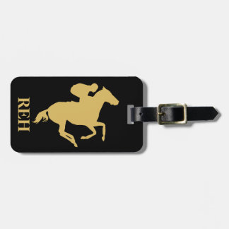 DIY Monogram Misted Yellow Race Horse on Any Color Luggage Tag