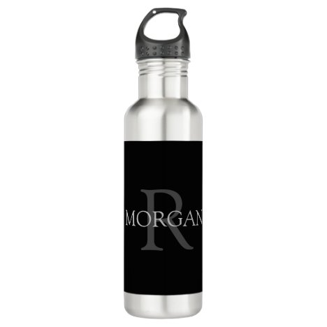 DIY Monogram & Name, Classic Black, Grey Text Stainless Steel Water Bottle