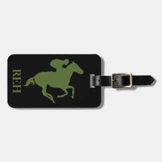 DIY Monogram Olive Green Race Horse/Any Color Luggage Tag