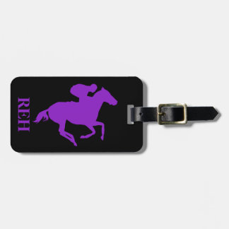 DIY Monogram Purple Race Horse/Any Color Luggage Tag