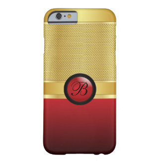 DIY Monogram Red and Gold Mesh Barely There iPhone 6 Case
