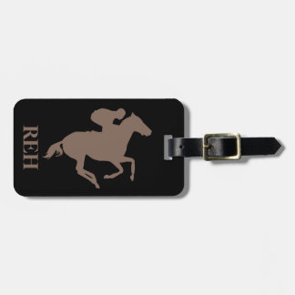 DIY Monogram Taupe Brown Race Horse on Any Color Luggage Tag