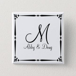DIY Monogram template with decorative border Pinback Button