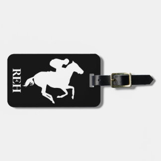 DIY Monogram White Race Horse on Any Color Tag For Luggage