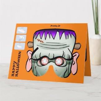 DIY Monster Paper Mask Halloween XL Card - Franky