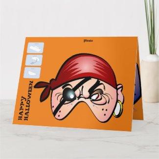 DIY Monster Paper Mask Halloween XL Card - Pirate