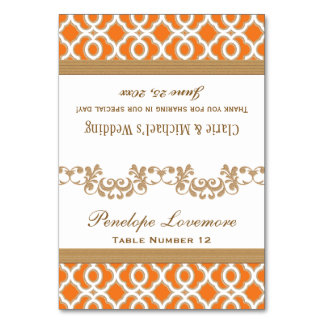 DIY Orange Gold Moroccan Seating Place Tent Cards