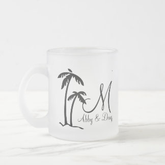 DIY Palm Tree Destination Logo Frosted Glass Coffee Mug