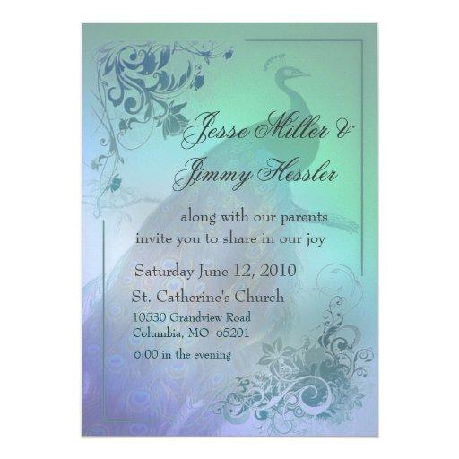DIY Peacock Theme Wedding Invitation
